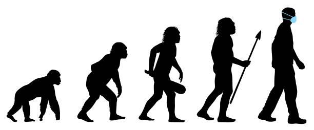 ewolucja człowieka z medyczną maską do twarzy - postęp stock illustrations