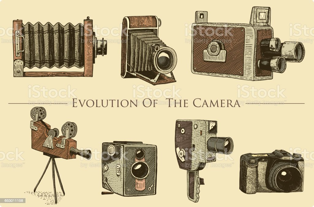Camera Vintage Vector Free : Evolution of the photo video film movie camera from first till now