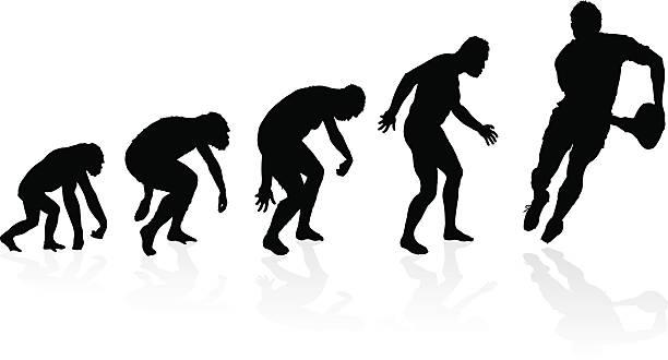 Evolução do Jogador de Rugby - ilustração de arte em vetor