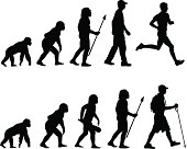 Evolution of the runner and hiker vector illustrations. From chimp to caveman to human.