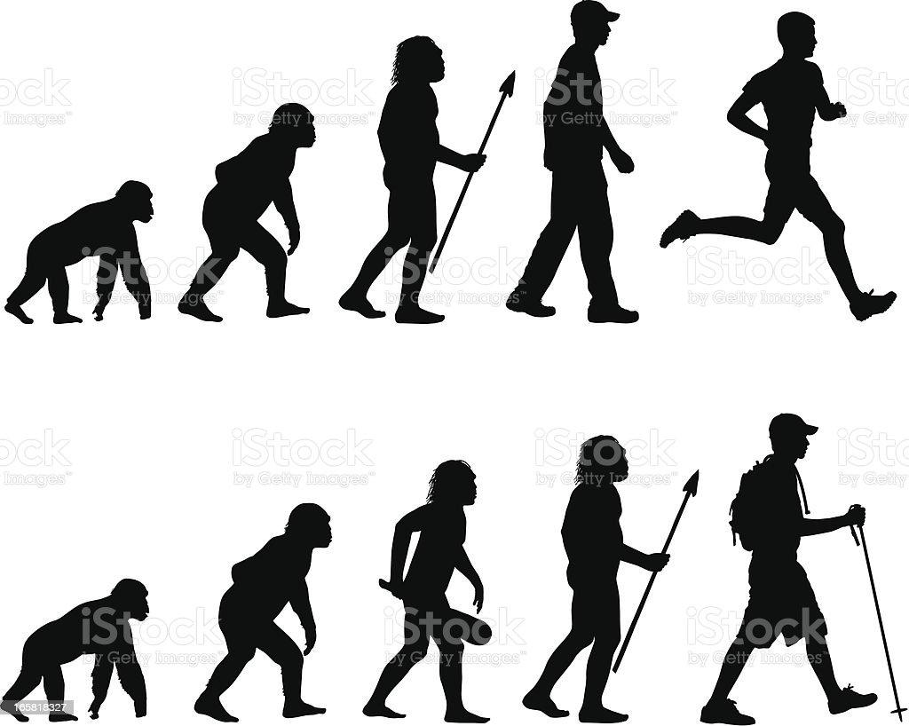Evolution of the Runner and Hiker vector art illustration