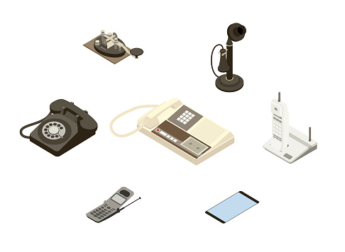 Isometric illustration of a telegraph key, an early candlestick telephone, a rotary phone, a touchtone phone with answering machine, a cordless phone, a cellular flip phone, and a contemporary smart phone. Items are generic; no specific manufacturer is represented.