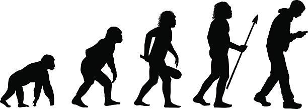 ewolucja tekstowych człowieka - postęp stock illustrations