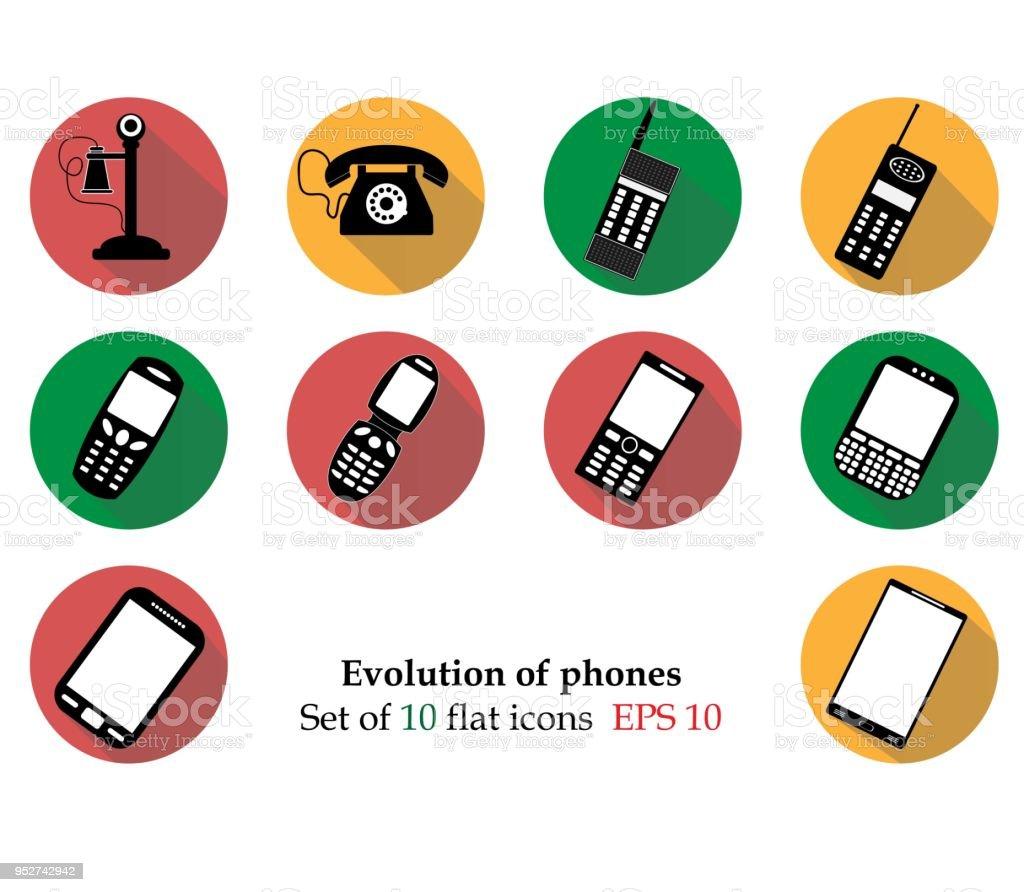 Evolution Phones Icosn Isolated On Background Modern Flat Pictogram