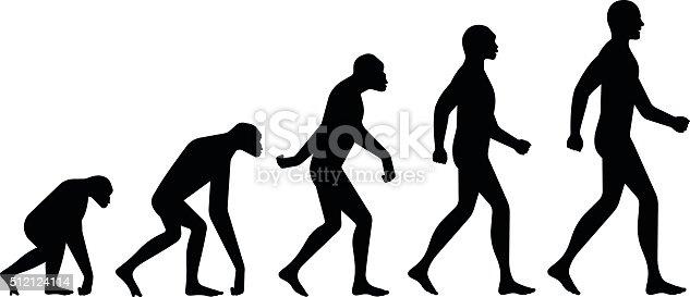 Evolution ape to man silhouette illustration concept.