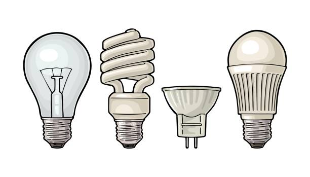 Evolution type electric lamp. Incandescent bulb, halogen, cfl and led. Evolution type electric lamp. Light incandescent bulb, halogen, cfl and led. Vector vintage color engraving illustration on white background. Hand drawn design element for label and poster canadian football league stock illustrations