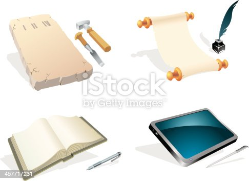 Collection of old to modern writing equipment, properly grouped elements. Traced from my hand drawn sketch, with high resolution jpg. More Education Series Lightbox