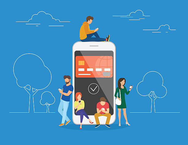 E-wallet concept illustration E-wallet concept illustration of young people using mobile smartphone for online purchasing via ewallet. Flat young men and women are standing near big smartphone with the credit card on screen banking patterns stock illustrations