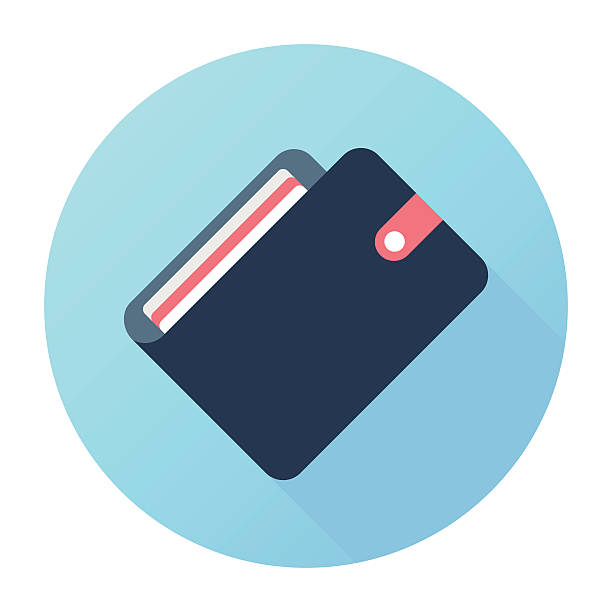 E-Wallet Flat & Long Shadow, Wallet Icon wallet stock illustrations