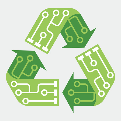 E-waste garbage icon. Old discarded electronic waste to recycling symbol. Ecology concept. Design by recycle sign with circuit lines. Flat colors style vector illustration isolated on grey background.