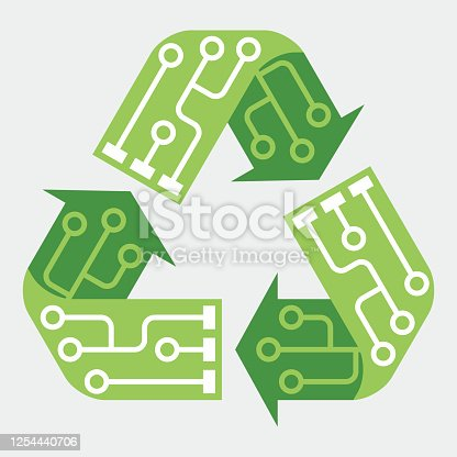 istock E-waste garbage icon. Old discarded electronic waste to recycling symbol. Ecology concept. Design by recycle sign with circuit lines. Flat colors style vector illustration isolated on grey background 1254440706