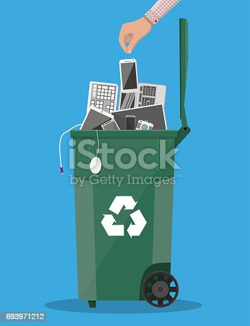 istock E-waste recycle bin with old electronic equipment 693971212
