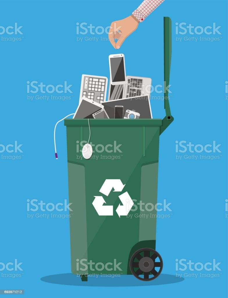 E-waste recycle bin with old electronic equipment vector art illustration