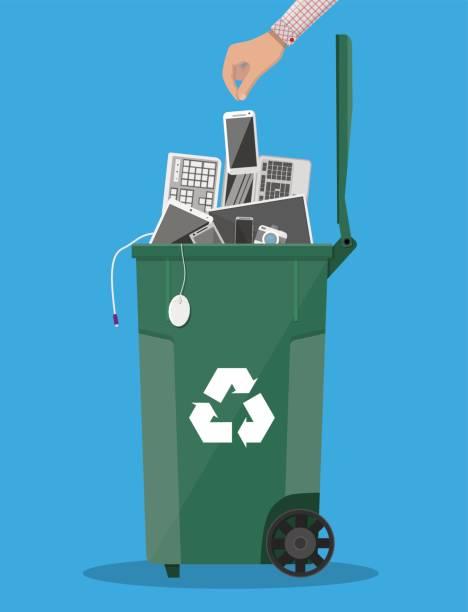 Corbeille à déchets électroniques avec vieux équipements électroniques - Illustration vectorielle