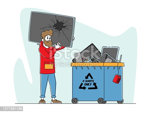 istock E-waste Recycling, Nature Protection Concept. Character with Broken TV front of Litter Bin for Electronics Appliances 1277391139