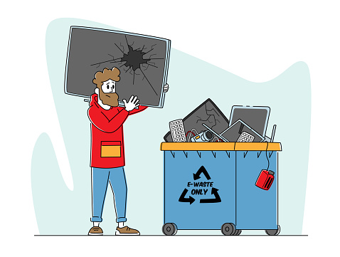 E-waste Recycling, Nature Protection Concept. Character with Broken TV front of Litter Bin for Electronics Appliances