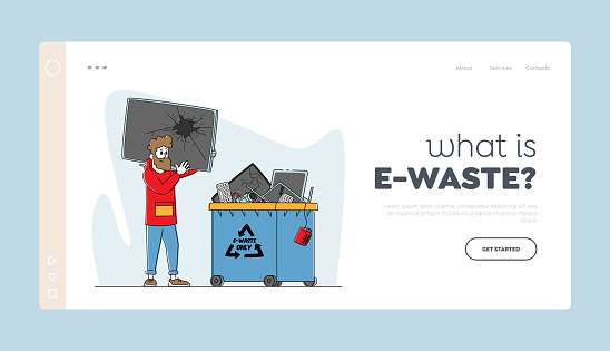E-waste Recycling, Nature Protection Landing Page Template. Male Character Throw Broken TV to Litter Bin for Technics
