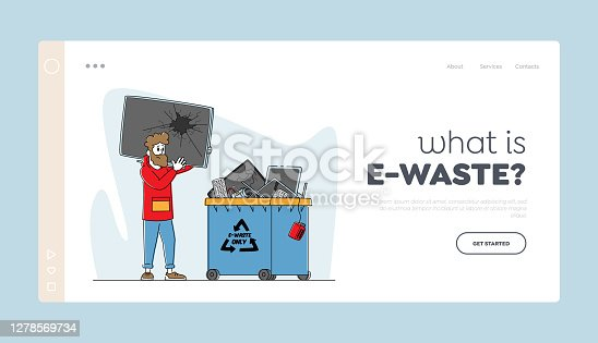 istock E-waste Recycling, Nature Protection Landing Page Template. Male Character Throw Broken TV to Litter Bin for Technics 1278569734
