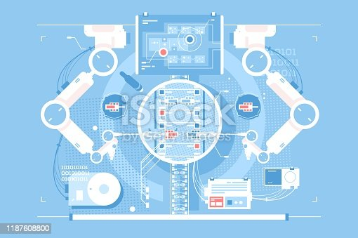 Exact edits room with infographic technologies vector illustration. Virtual reality scientific chamber with different complicated flat style design. IT maintenance concept