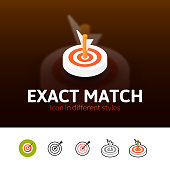 Exact match color icon, vector symbol in flat, outline and isometric style isolated on blur background