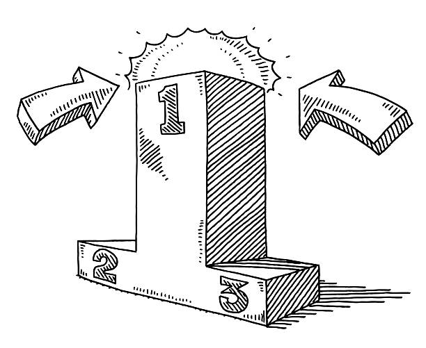 Exaggerated First Place On A Sports Podium Drawing Hand-drawn vector drawing of an Exaggerated First Place On A Sports Podium. The Podium for the winner is much higher than normal. Two Arrows on the right and left side pointing towards the first place position, a light glow enhances the importance of the winning position as well. Black-and-White sketch on a transparent background (.eps-file). Included files are EPS (v10) and Hi-Res JPG. cartoon character figure stock illustrations