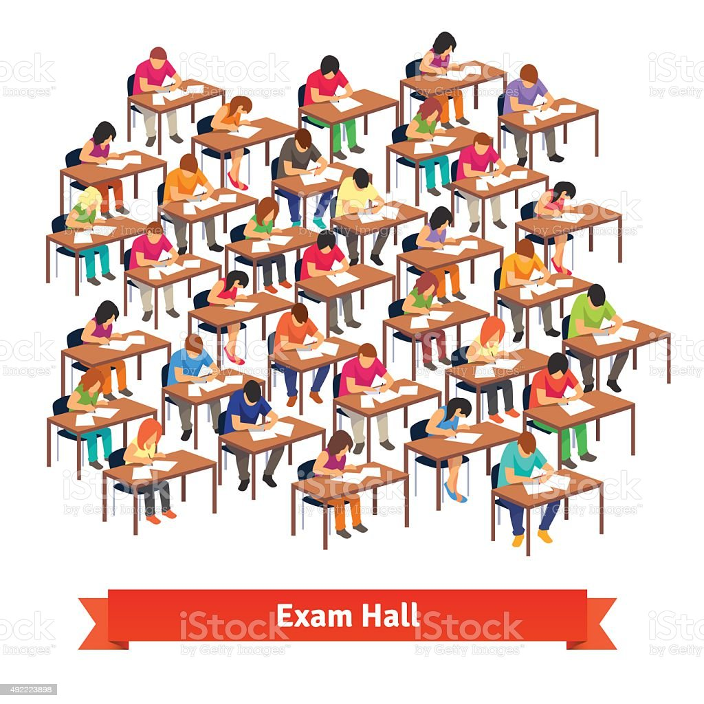 Exam classroom full of students writing a test vector art illustration