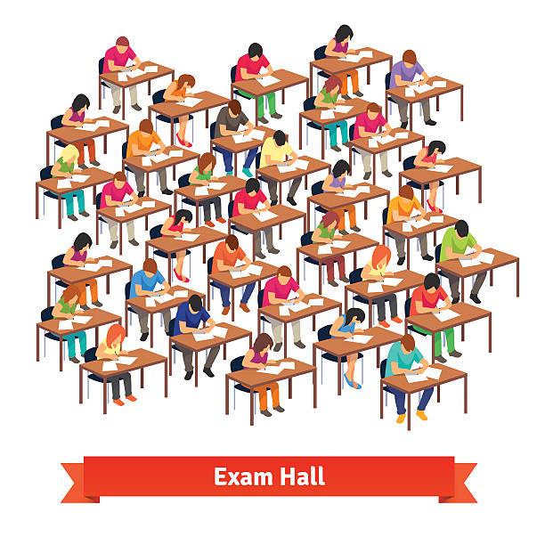 ilustrações, clipart, desenhos animados e ícones de exame de aula cheia de alunos escrevendo um teste - aula de redação