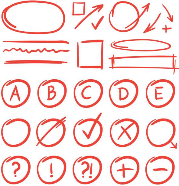 bildbanksillustrationer, clip art samt tecknat material och ikoner med tentamen märken och anteckningar för läs tester. röd klass resultat - ärr