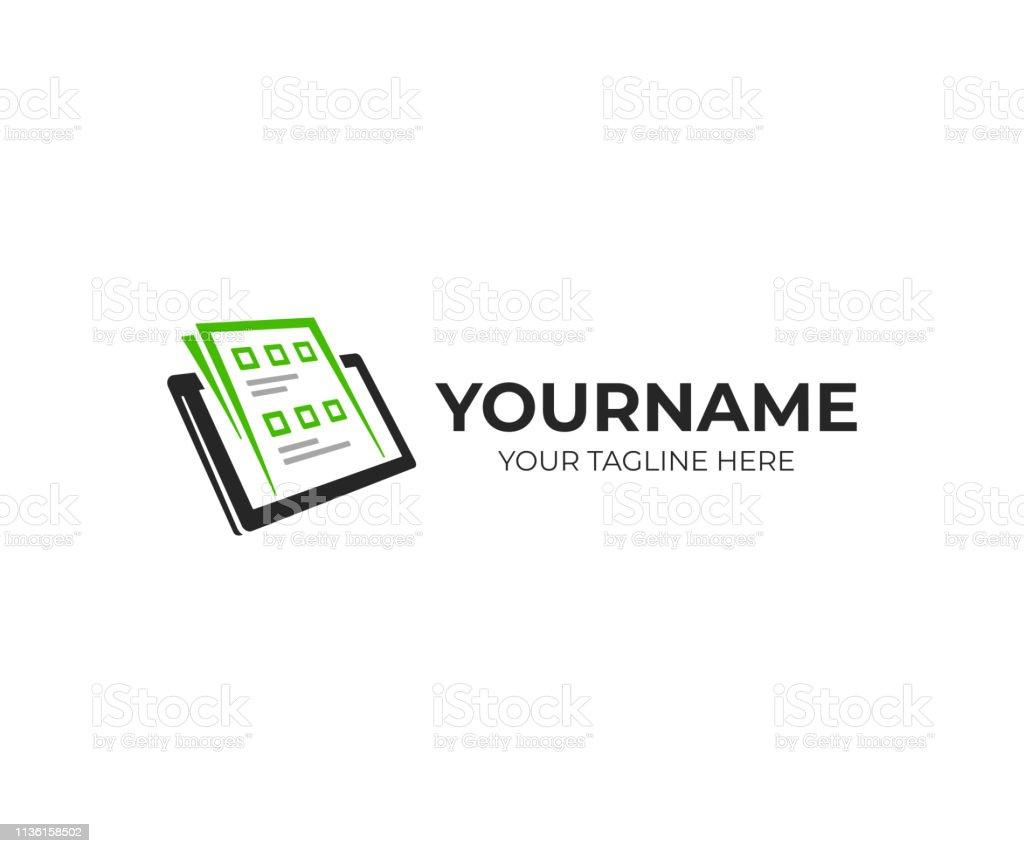 Exam paper and tablet design. Online exam vector design. Survey form...