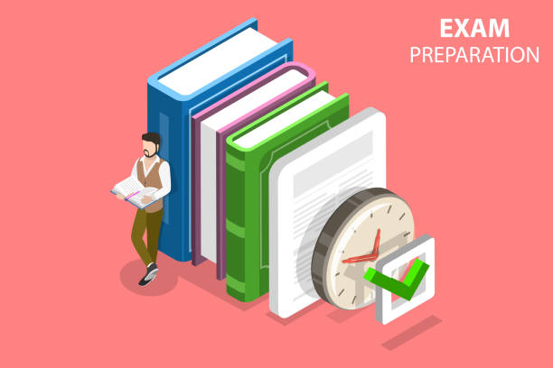 Exam preparation flat isometric vector concept. Flat isometric vector concept of exam preparation, school test, examination, checklist, education. making stock illustrations