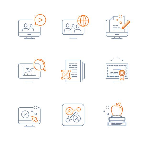 ilustrações, clipart, desenhos animados e ícones de preparação para o exame, educação on-line, vídeo curso, comunidade global, estudo da ciência, conceito de bolsa de estudos, certificado de grau - aula de redação