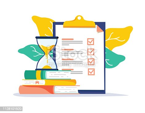 Exam preparation school test. Examination concept checklist and hourglass, choosing answer questionnaire form, education vector flat illustration. Online course learning exam. Fill out form summary