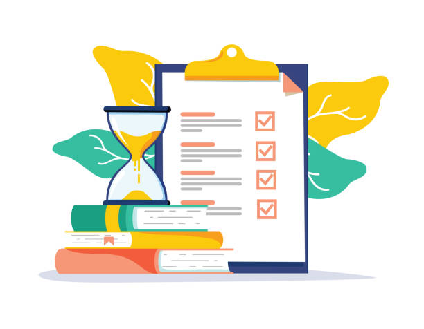 Exam preparation school test. Examination concept checklist and hourglass, choosing answer questionnaire form Exam preparation school test. Examination concept checklist and hourglass, choosing answer questionnaire form, education vector flat illustration. Online course learning exam. Fill out form summary making stock illustrations