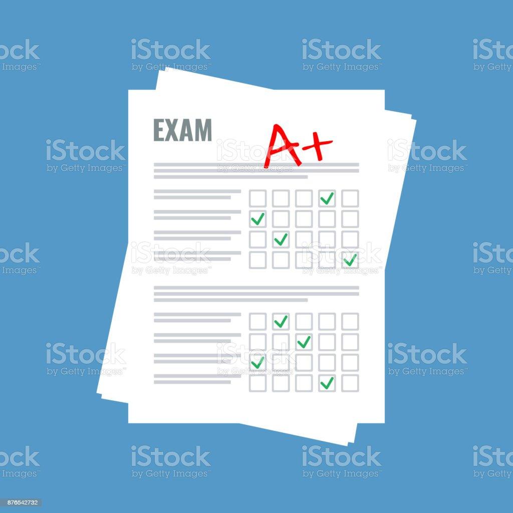exam sheet with A plus grade, flat design vector art illustration