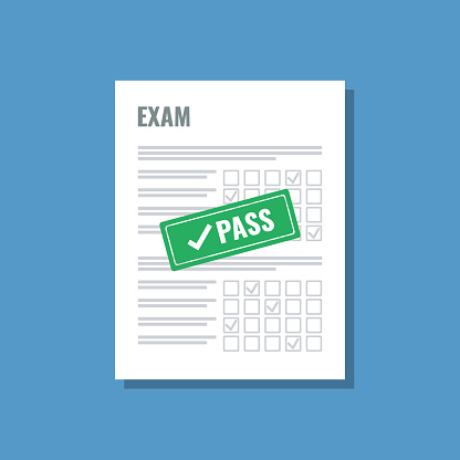 exam sheet with green pass stamp, flat vector illustration