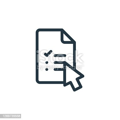 istock exam vector icon isolated on white background. Outline, thin line exam icon for website design and mobile, app development. Thin line exam outline icon vector illustration. 1269735558