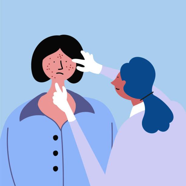 untersuchung durch einen arzt, ein mädchen mit akne, ekzem, psoriasis - dermatologie stock-grafiken, -clipart, -cartoons und -symbole