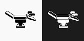 Examination Table Icon on Black and White Vector Backgrounds. This vector illustration includes two variations of the icon one in black on a light background on the left and another version in white on a dark background positioned on the right. The vector icon is simple yet elegant and can be used in a variety of ways including website or mobile application icon. This royalty free image is 100% vector based and all design elements can be scaled to any size.
