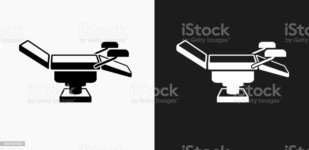 Examination Table Icon on Black and White Vector Backgrounds vector art illustration