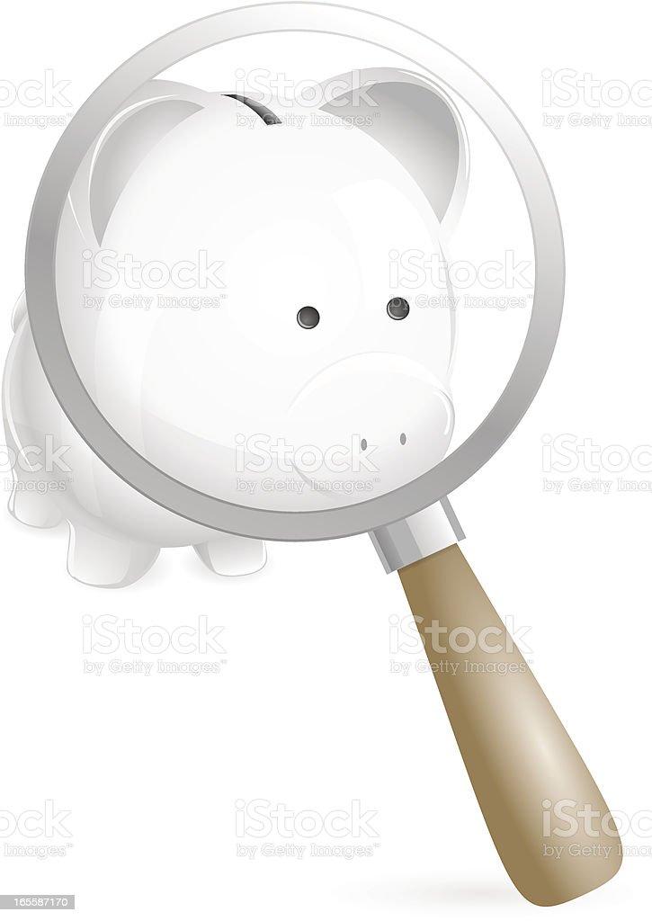 Examining: Piggy bank under magnifying lens vector art illustration
