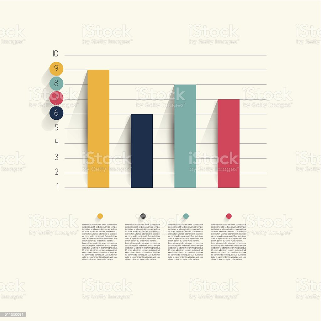 Example of business flat design graph. Infographics chart. vector art illustration