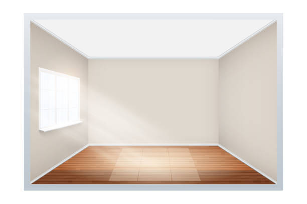 example of empty room with window on side. - empty room stock illustrations