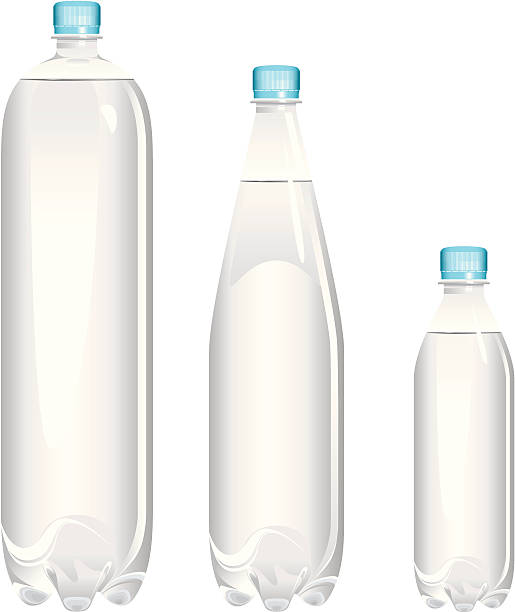 Examples of different sizes of bottles Bottles of water various sizes 2L, 1.5L, 500ml. Fully editable. volume fluid capacity stock illustrations