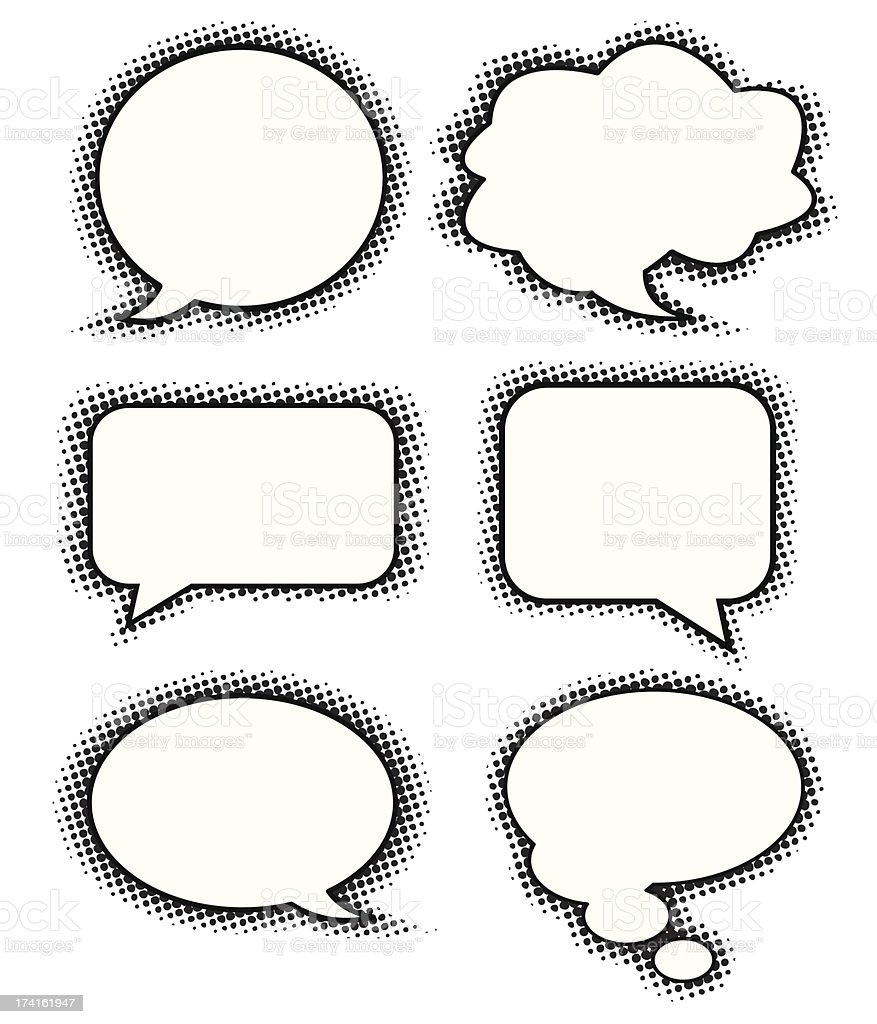Examples of different types of speech bubble royalty-free stock vector art
