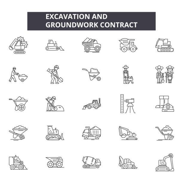 bildbanksillustrationer, clip art samt tecknat material och ikoner med schaktning och grounwork linje ikoner, skyltar som, vektor. schaktning och grounwork kontur koncept, illustration: industri, industri, tunga, arbete, isolerad, grävare, metall - mining