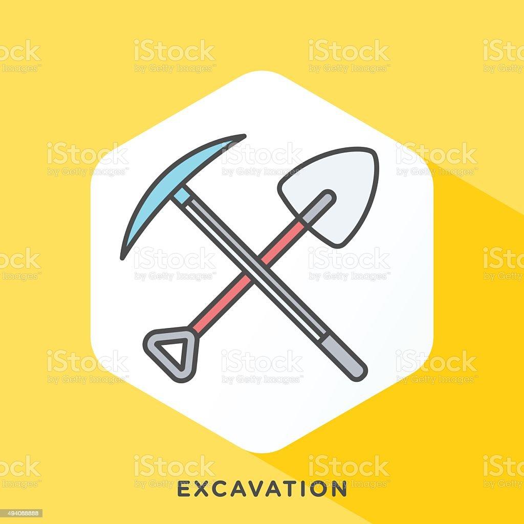 Excavation Icon vector art illustration