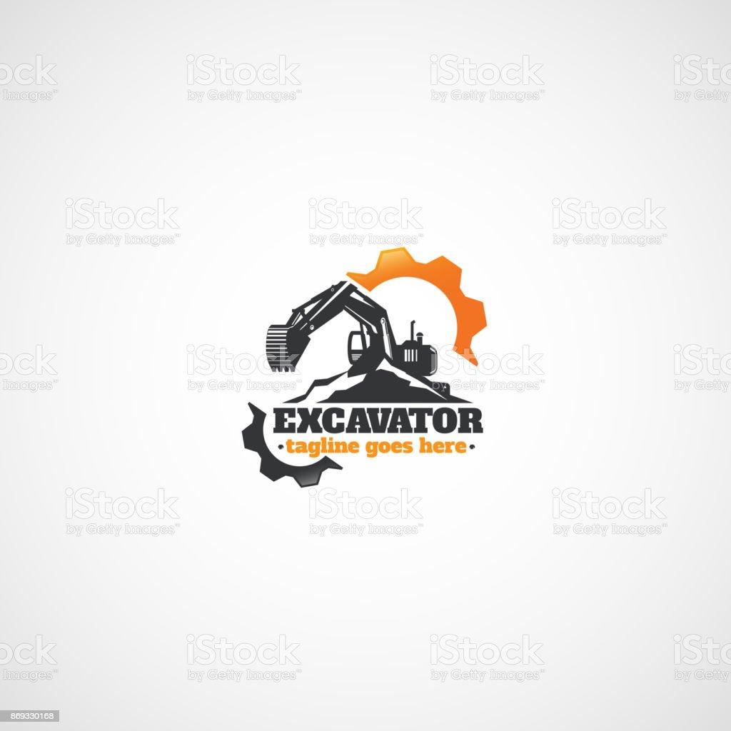 Bagger und Zahnräder, Vermietung von Baumaschinen. – Vektorgrafik