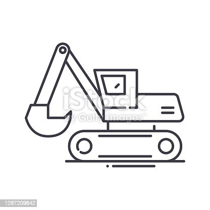 Excavator auger drive icon, thin line isolated illustration, linear vector web design sign, outline concept symbol with editable stroke on white background.