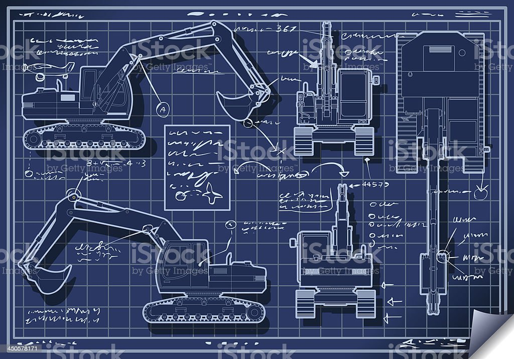 Excavator Blue Project in Five Orthogonal Views vector art illustration