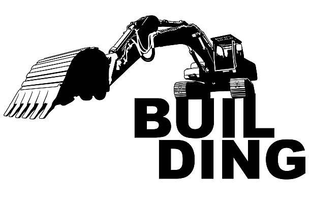 Excavator building vector art illustration